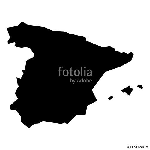 500x500 Black Simplified Flat Silhouette Map Of Spain. Vector Country