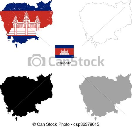 450x431 Cambodia Country Black Silhouette And With Flag On Vector Clip