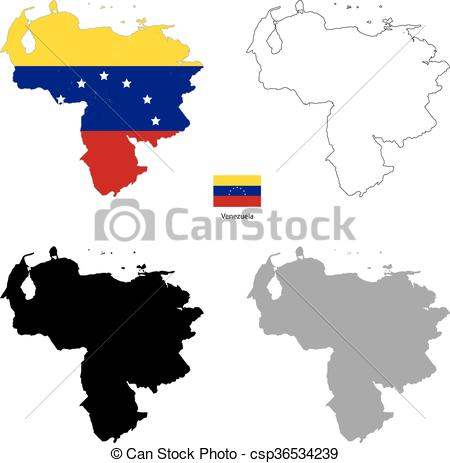 450x463 Venezuela Country Black Silhouette And With Flag On Vectors