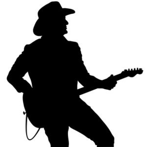 300x300 Country Silhouttes Guitar Player Clipart Image