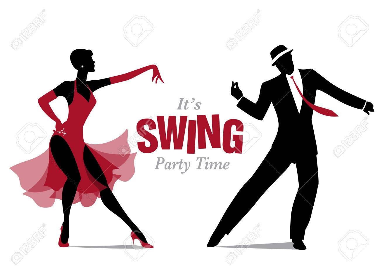 1300x928 Elegant Couple Dancing Silhouettes Jazz Or Swing Royalty Free