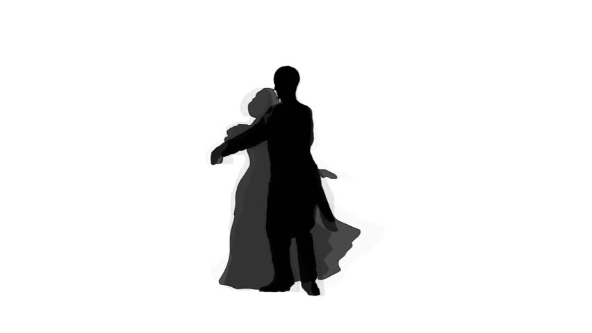 852x480 Silhouette Romantic Couple Dancing Classic Dance Stock Footage