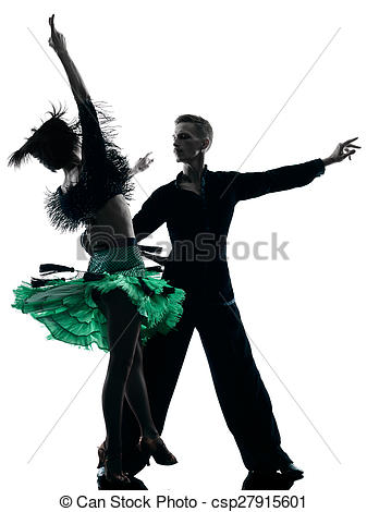 337x470 Elegant Couple Dancers Dancing Silhouette. One Caucasian Stock