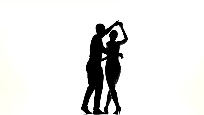 852x480 Salsa In Perform Silhouette Couple Professional Dancers On White