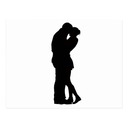 540x540 Couple In Love Silhouette Embracing Hug Intimacy Postcard