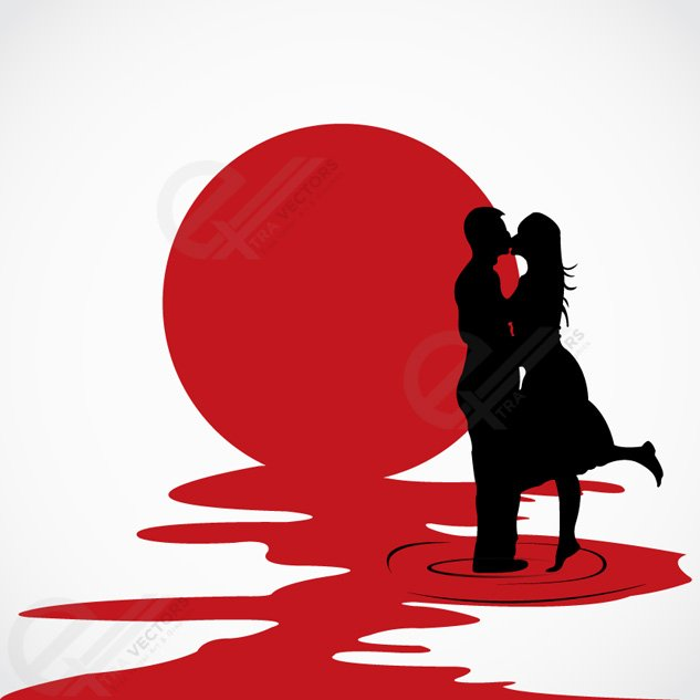 633x633 Love Couple Kissing Each Other Vector Silhouettes, Vector Graphic