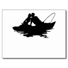 236x236 Fishing Couples Silhouette