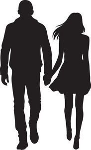 183x300 Man And Woman Silhouette Clip Art Couple Clipart Image