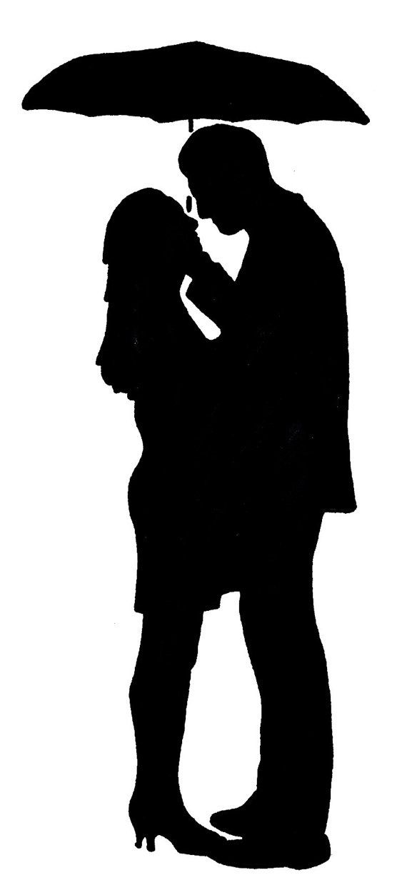 Couple Holding Umbrella Silhouette
