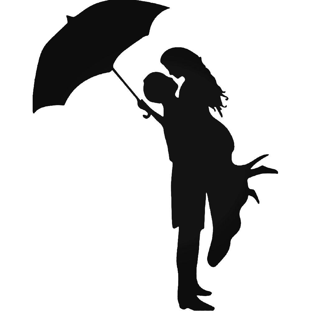1000x1000 Kissing Umbrella Rain Sticker
