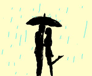 300x250 A Girl Leaning On Man's Shoulder In Rain