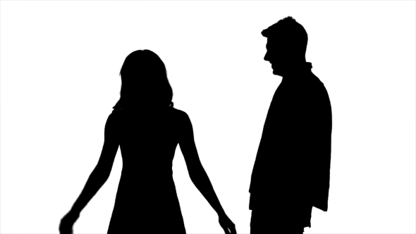590x332 Couple In Love, They Laugh, Kiss And Have Fun. Silhouette. White
