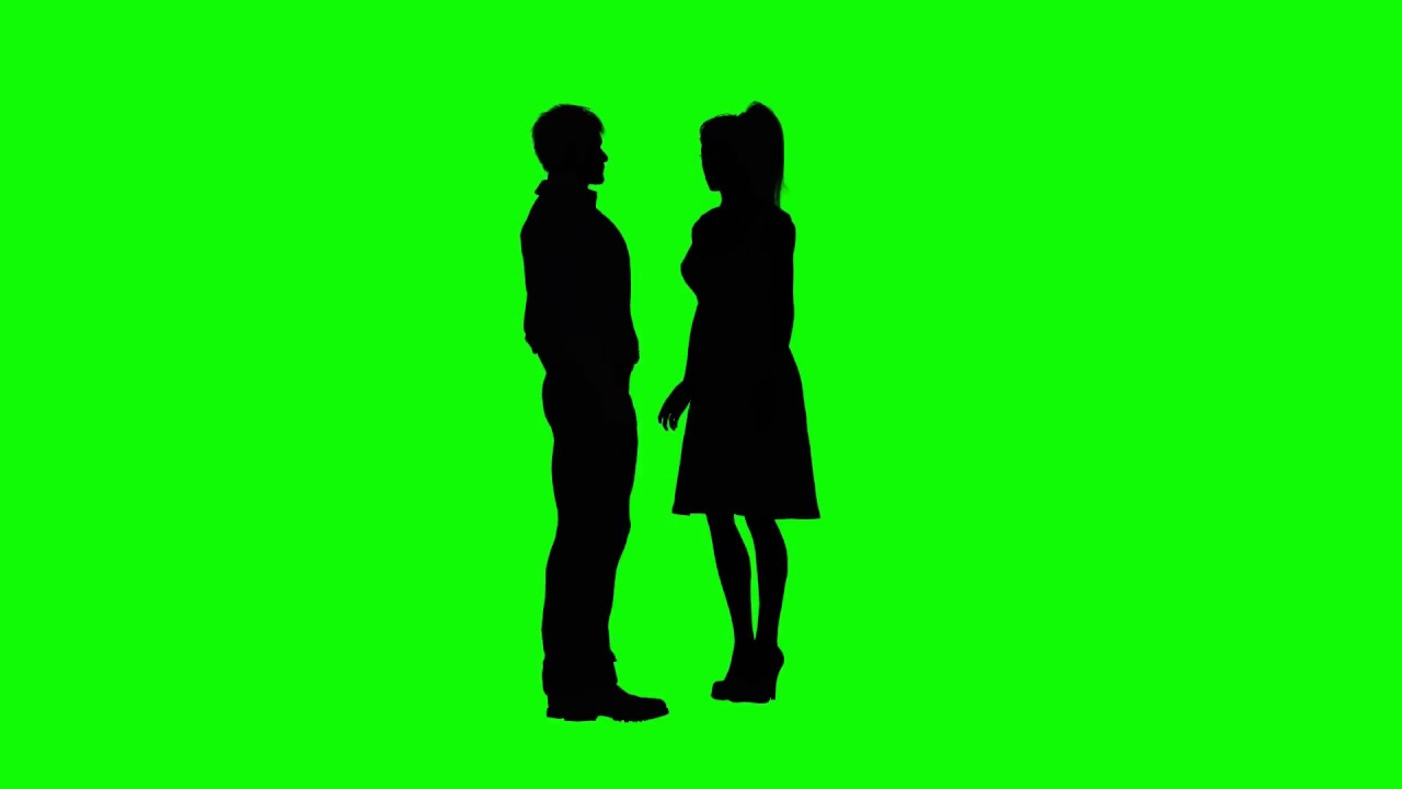 1280x720 Green Screen Man And Woman Couple Kissing Silhouette