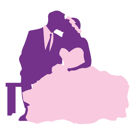 512x512 Married Couple Kissing Silhouette