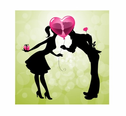 425x391 Valentine39s Day Cartoon Couple Kissing Silhouette Vector Vector
