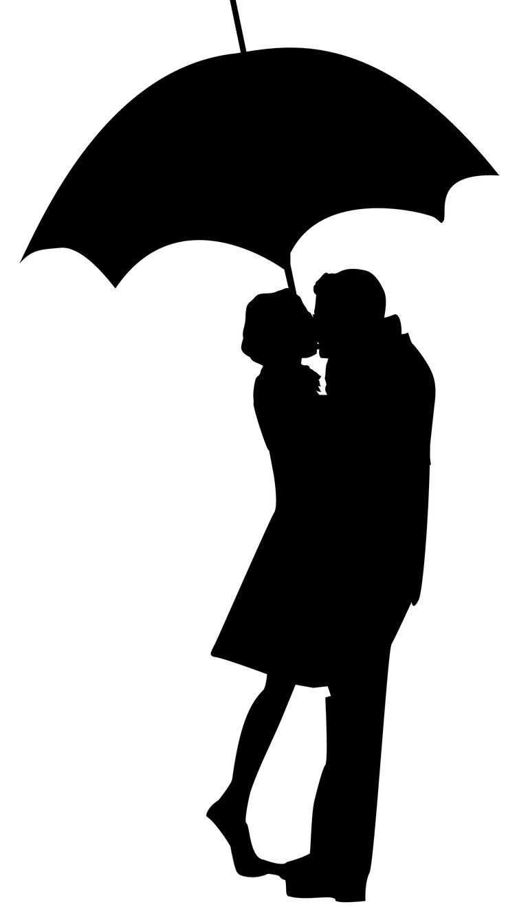 736x1325 Couple Kissing Silhouette Umbrella Clip Art