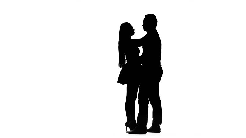 852x480 Loving Couple Kisses And Dances Together. Silhouette. White
