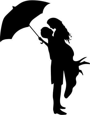 Couple Kissing Under Umbrella Silhouette