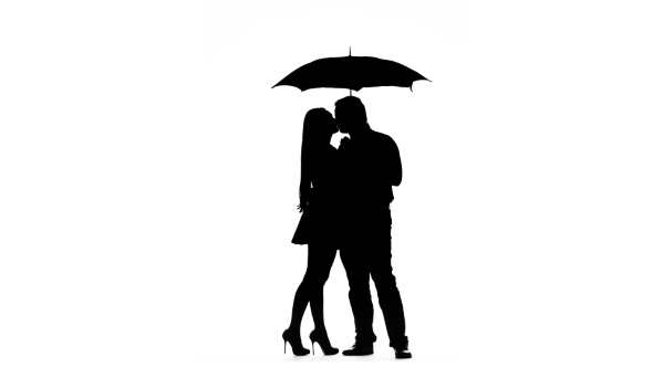 590x332 Pair Kissing Under The Umbrella. Silhouette. White Background By