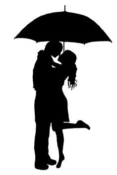 236x354 Printable Kissing Under Umbrella Silhouette Man And Woman