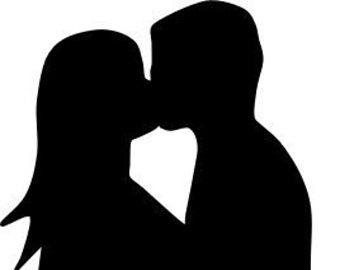 340x270 Couple In Love Art Print Kissing Couple Silhouette Art