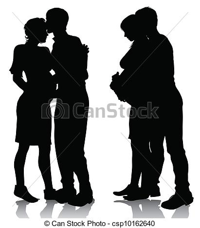 411x470 Couple Silhouette Expecting A Baby. Vector Illustration Eps