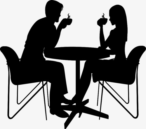 500x443 Couple Silhouette, Black Silhouette, Meeting, Coffee Png Image