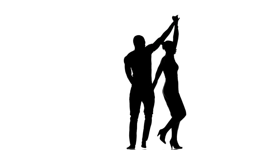 852x480 Latino Dancers In Action Isolated On White Background, Silhouette