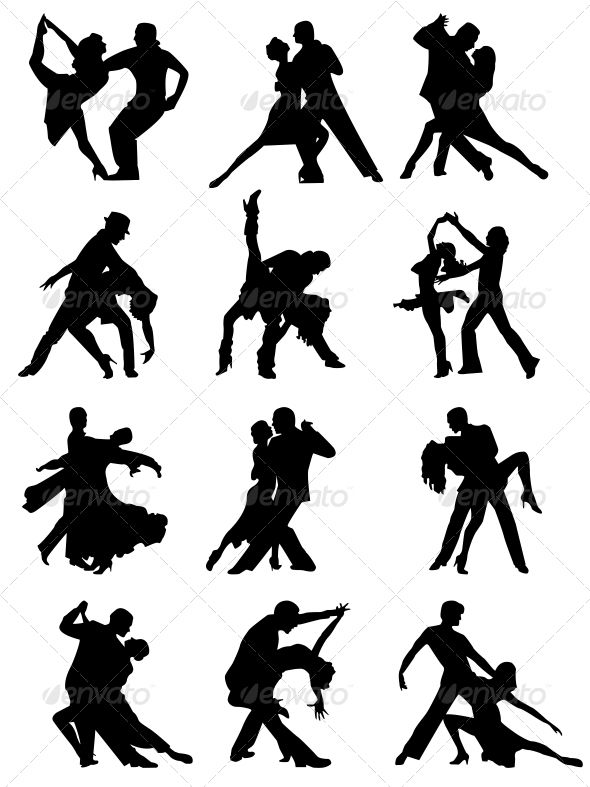 590x787 Set Of Silhouettes Of Dancing Couple Silhouettes, Dancing