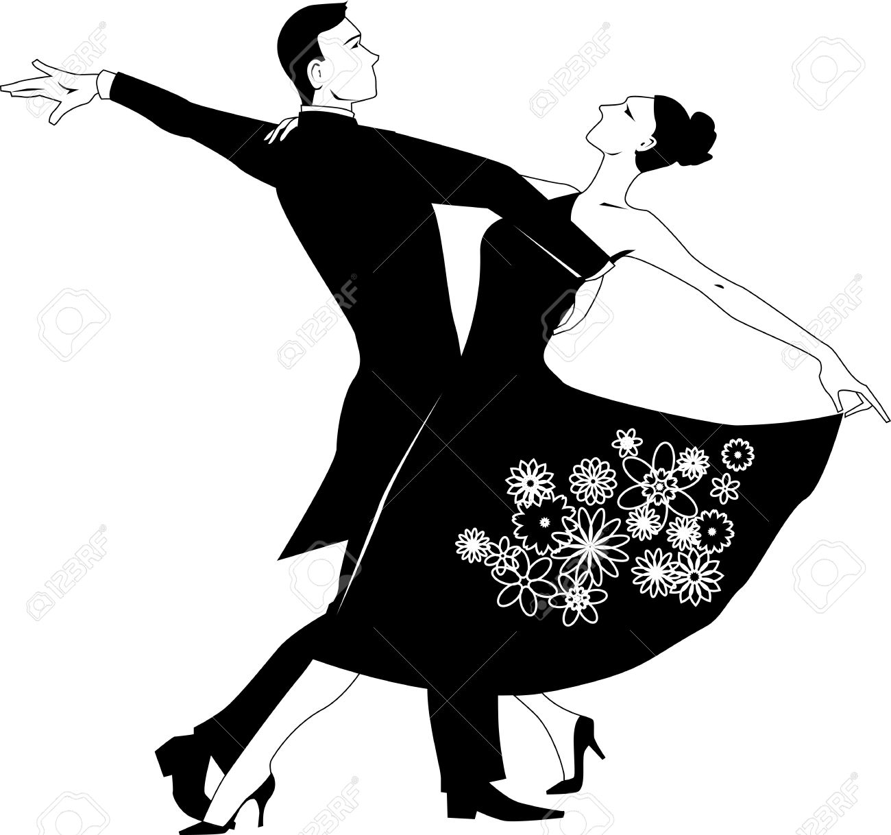 1300x1218 And White Couple Dancing Clipart