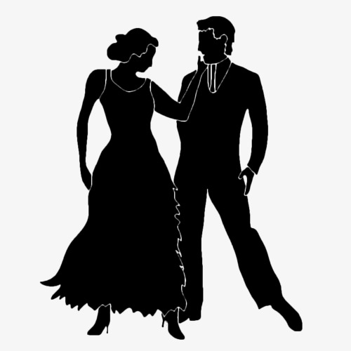 500x500 Couple Silhouette, Black Silhouette, Dancing, Lovers Png Image