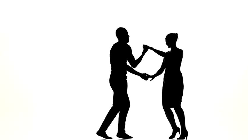 852x480 Couple Silhouette Professional Dancing Rumba On White Background