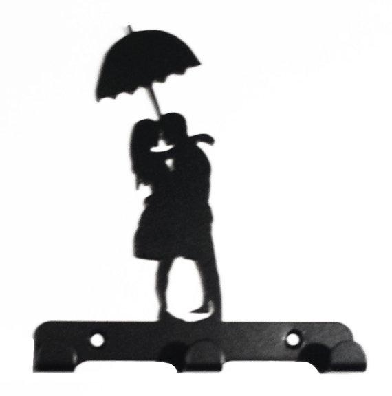 570x576 Couple Under Umbrella Silhouette Key Hook Rack Metal Wall