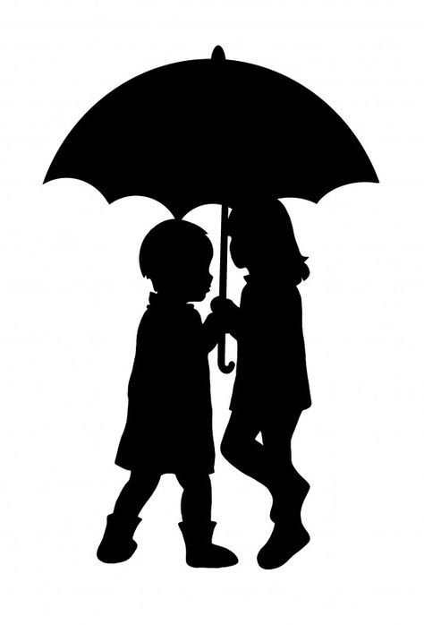 474x698 30 Unique Couple Silhouette Umbrella Crayon Art