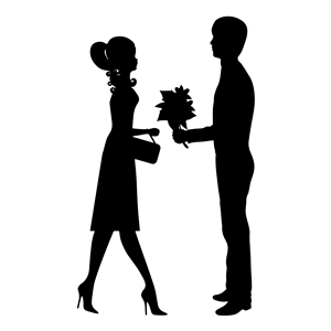 300x300 Romantic Young Couple Silhouette Clipart, Cliparts Of Romantic