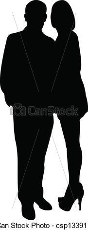 181x470 Couple Silhouette, Vector Vector Clipart