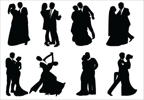 500x350 Bride And Groom Silhouette Vector (10) Wedding Vector
