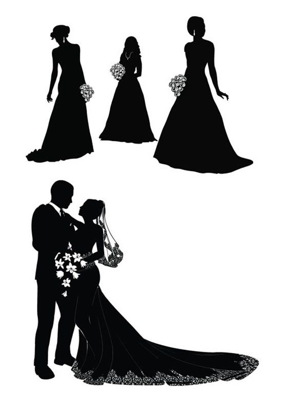 550x796 Wedding couple silhouette Bride And Groom Silhouette Vector