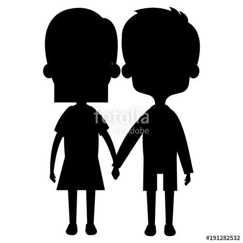 500x500 Cute And Little Kids Couple Silhouette Vector Illustration Design