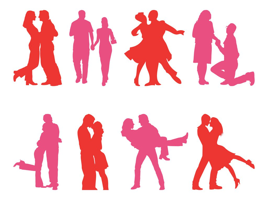 1024x765 Couple Silhouettes Set Vector Art Amp Graphics