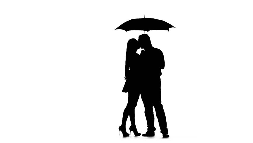 852x480 Pair Kissing Under The Umbrella. Silhouette. White Background