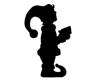 340x270 Resting Elf Silhouette Cut Out Outline Digital Download