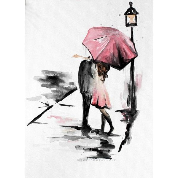600x600 Couple With Umbrella, Romance Painting, Kissing In The Rain