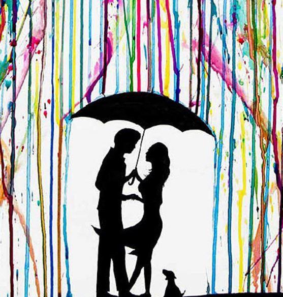 557x584 Art Couple Silhouette With Dog Umbrella Rain Melting Wax Rainbow