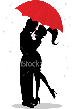 258x380 A Girl And Guy Kissing In Rain Under A Red Umbrella As