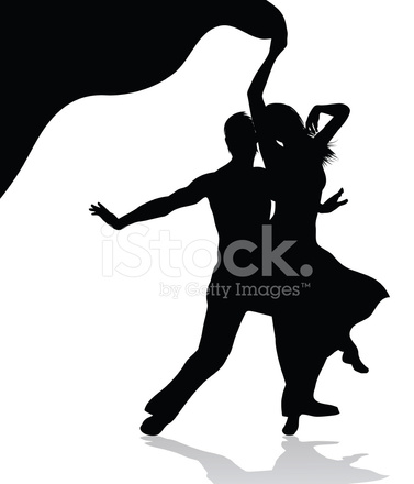 377x440 Dancing Couple Silhouette Stock Vector