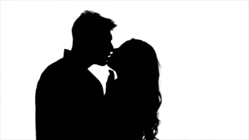 852x480 Guy And Girl Passionately Making Out Over White Background Stock