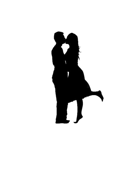 570x713 8x10 Black And White Custom Couple Silhouette Portrait By Zamtech