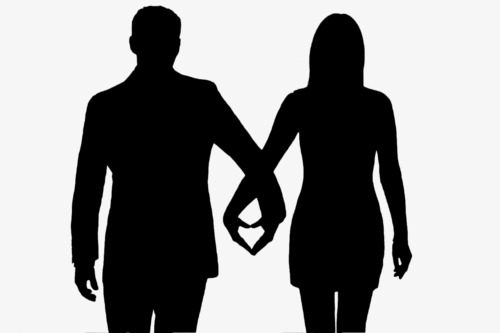 500x333 Couple Silhouette, Black Silhouette, Marry, Father's Day Png