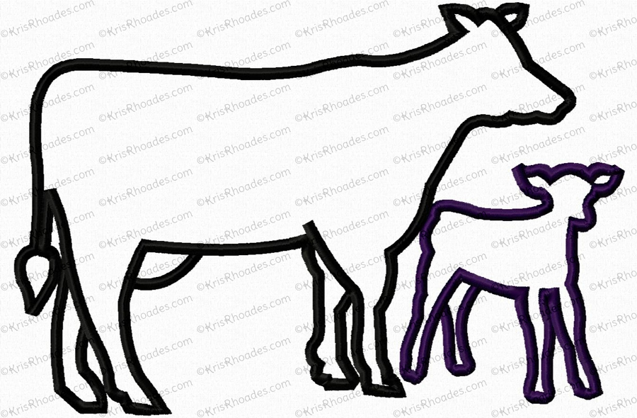 900x590 Cow And Calf Silhouette Applique Embroidery Design